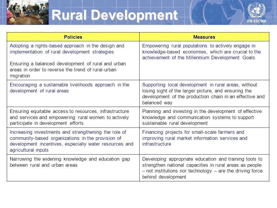 PoliciesMeasures Adopting a rights-based approach in the design and implementation of rural development strategies Ensuring a balanced development of