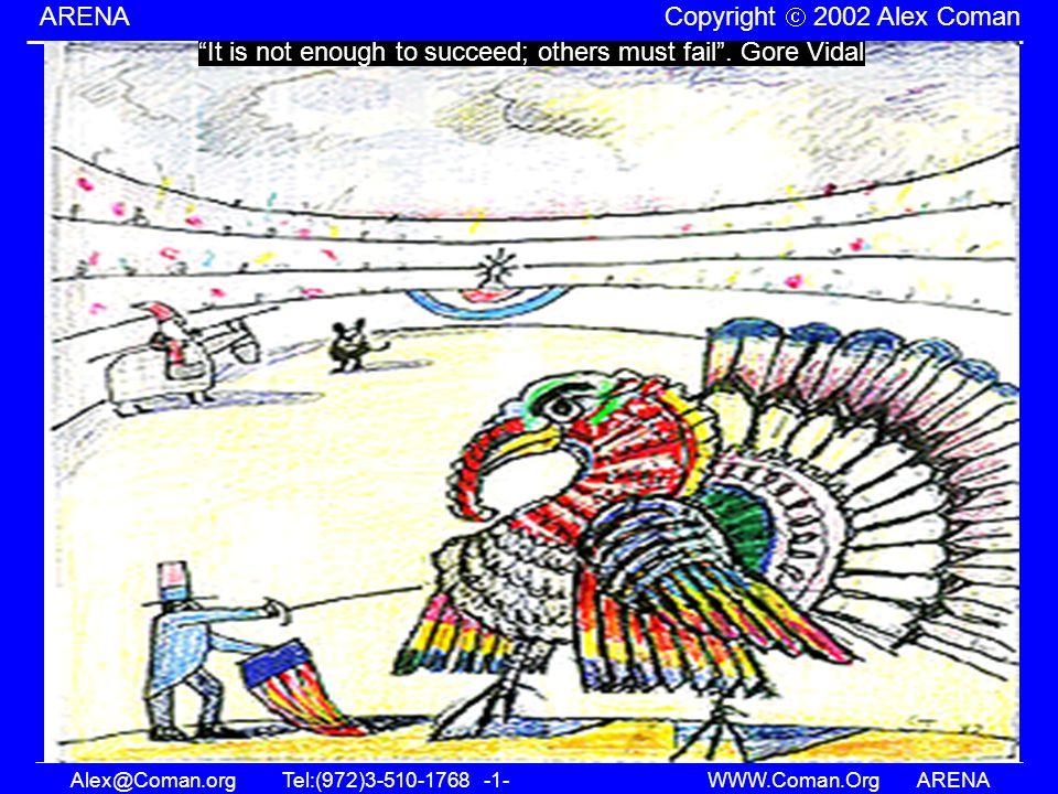 Alex@Coman.orgTel:(972)3-510-1768 -1- WWW.Coman.OrgARENA ARENA Copyright 2002 Alex Coman It is not enough to succeed; others must fail. Gore Vidal