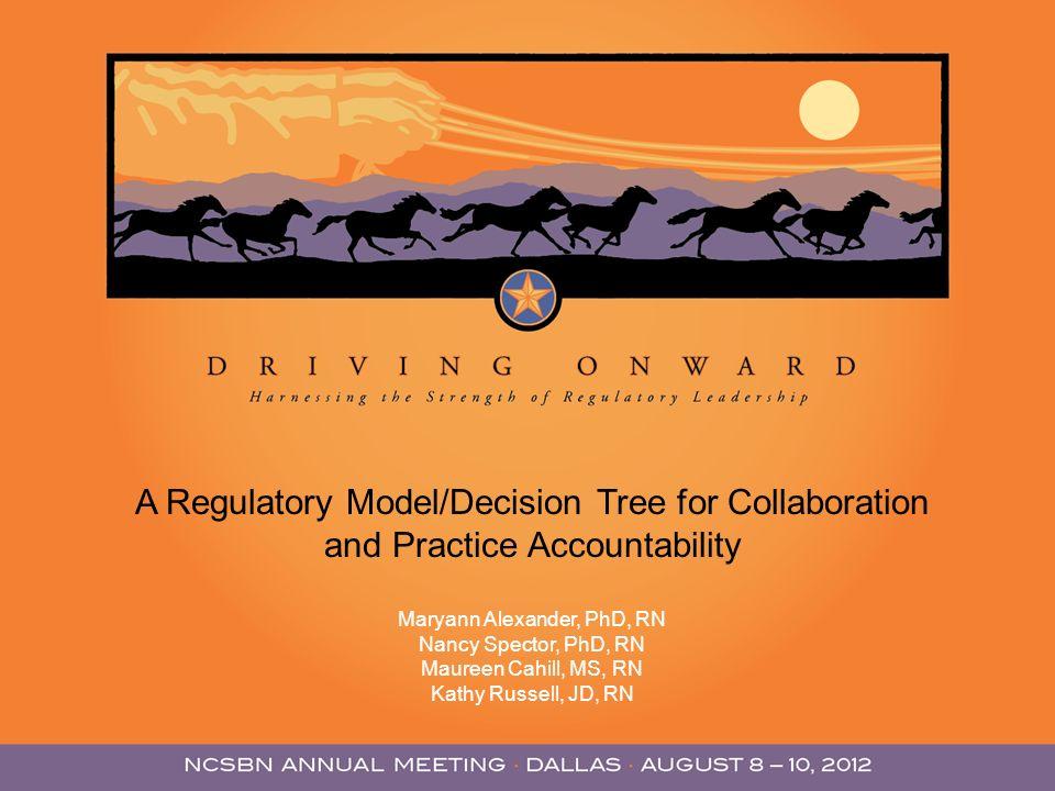 A Regulatory Model/Decision Tree for Collaboration and Practice Accountability Maryann Alexander, PhD, RN Nancy Spector, PhD, RN Maureen Cahill, MS, R