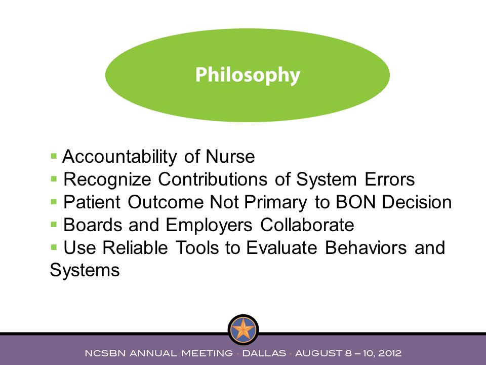 Accountability of Nurse Recognize Contributions of System Errors Patient Outcome Not Primary to BON Decision Boards and Employers Collaborate Use Reli