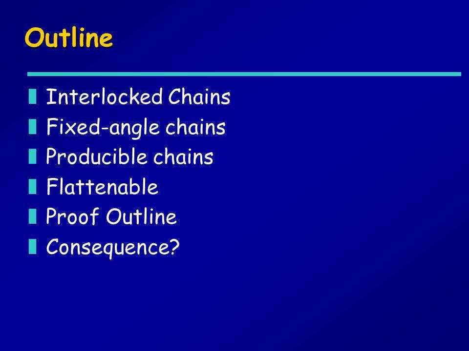 Outline zInterlocked Chains zFixed-angle chains zProducible chains zFlattenable zProof Outline zConsequence?