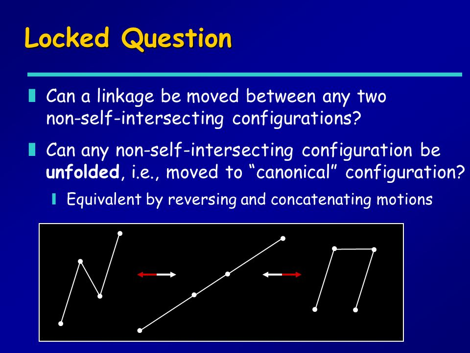 Locked Question zCan a linkage be moved between any two non-self-intersecting configurations? ? zCan any non-self-intersecting configuration be unfold