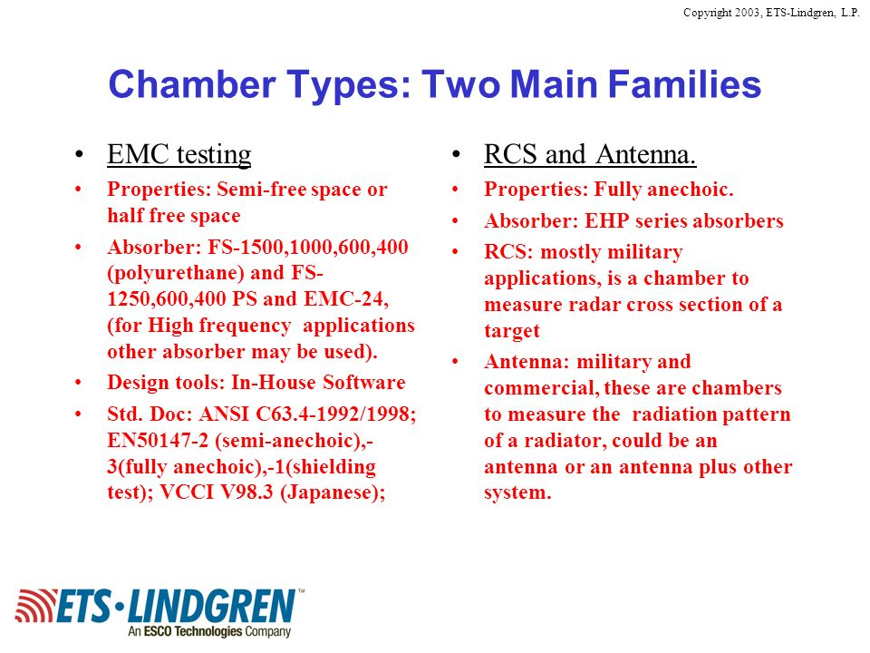 Copyright 2003, ETS-Lindgren, L.P. Chamber Types: Two Main Families EMC testing Properties: Semi-free space or half free space Absorber: FS-1500,1000,