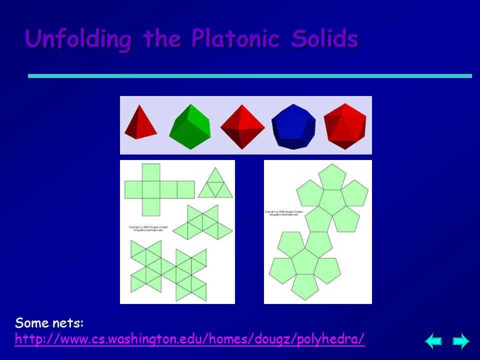 Unfolding the Platonic Solids Some nets: http://www.cs.washington.edu/homes/dougz/polyhedra/
