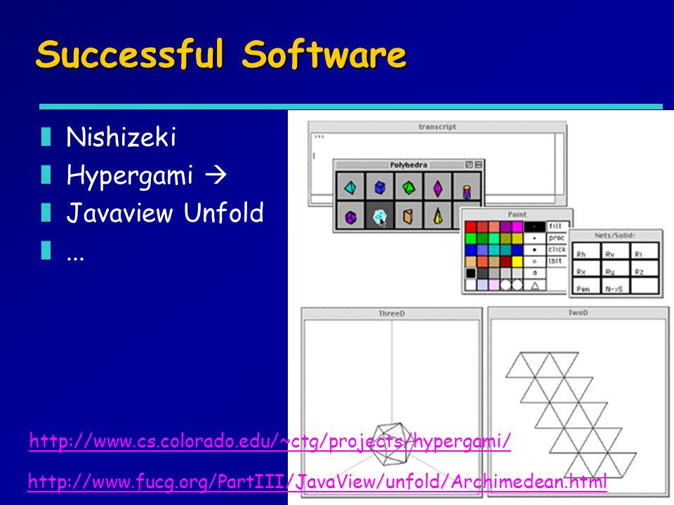 Successful Software zNishizeki zHypergami zJavaview Unfold z... http://www.fucg.org/PartIII/JavaView/unfold/Archimedean.html http://www.cs.colorado.ed