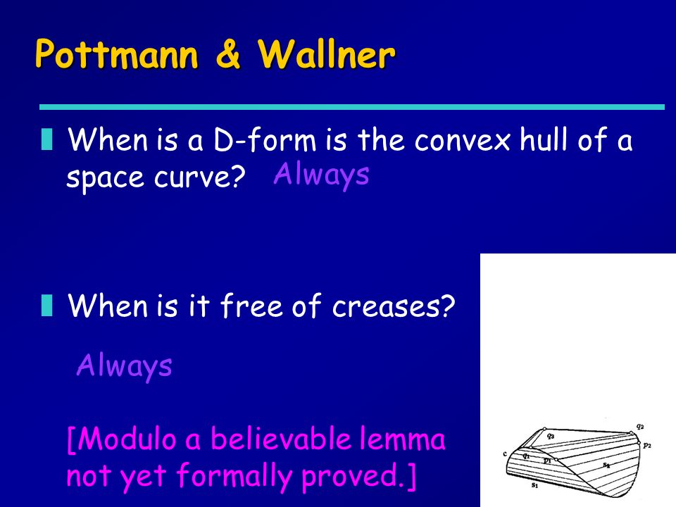 Pottmann & Wallner zWhen is a D-form is the convex hull of a space curve.