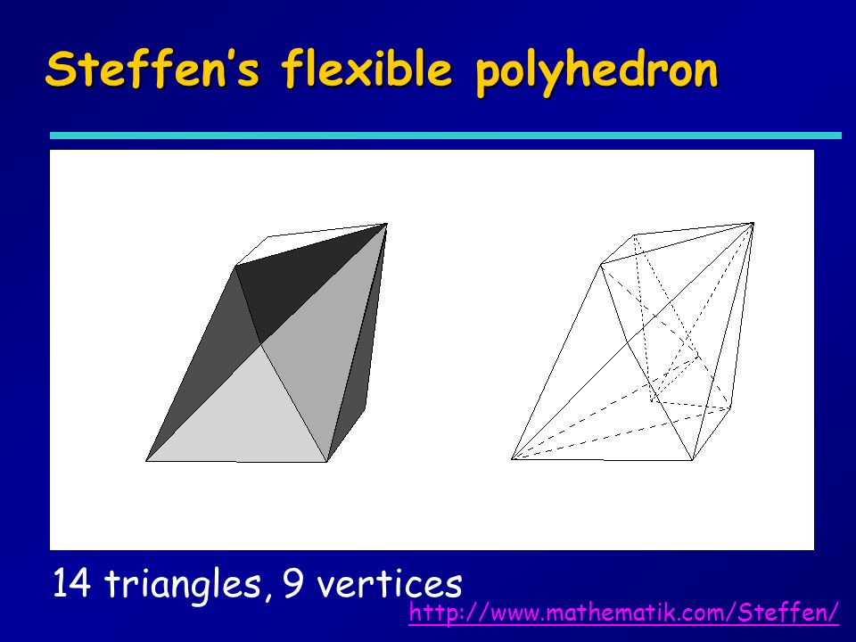 Steffens flexible polyhedron 14 triangles, 9 vertices http://www.mathematik.com/Steffen/