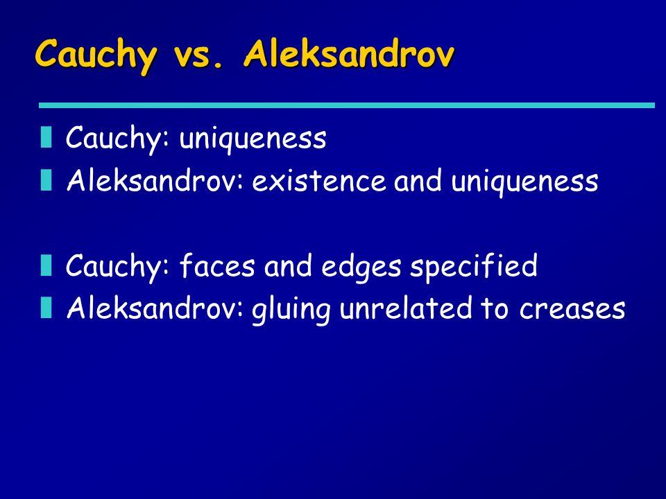 Cauchy vs. Aleksandrov zCauchy: uniqueness zAleksandrov: existence and uniqueness zCauchy: faces and edges specified zAleksandrov: gluing unrelated to
