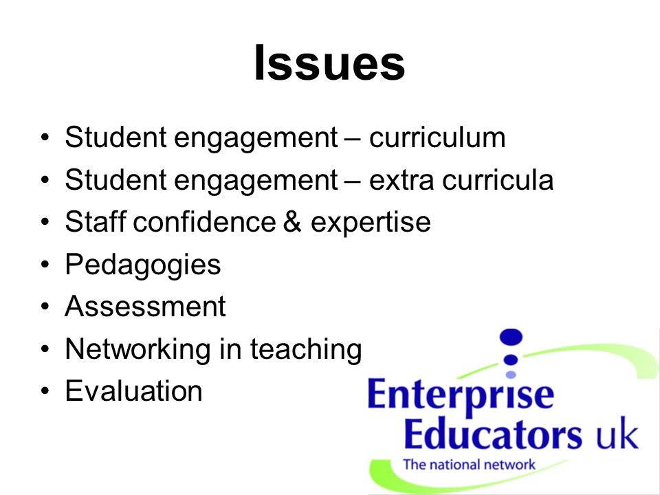 Issues Student engagement – curriculum Student engagement – extra curricula Staff confidence & expertise Pedagogies Assessment Networking in teaching Evaluation