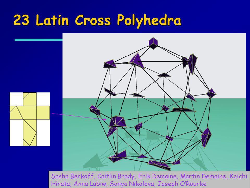 23 Latin Cross Polyhedra Sasha Berkoff, Caitlin Brady, Erik Demaine, Martin Demaine, Koichi Hirata, Anna Lubiw, Sonya Nikolova, Joseph ORourke