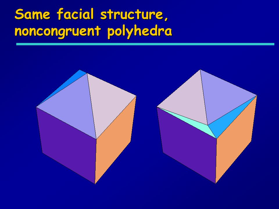Same facial structure, noncongruent polyhedra