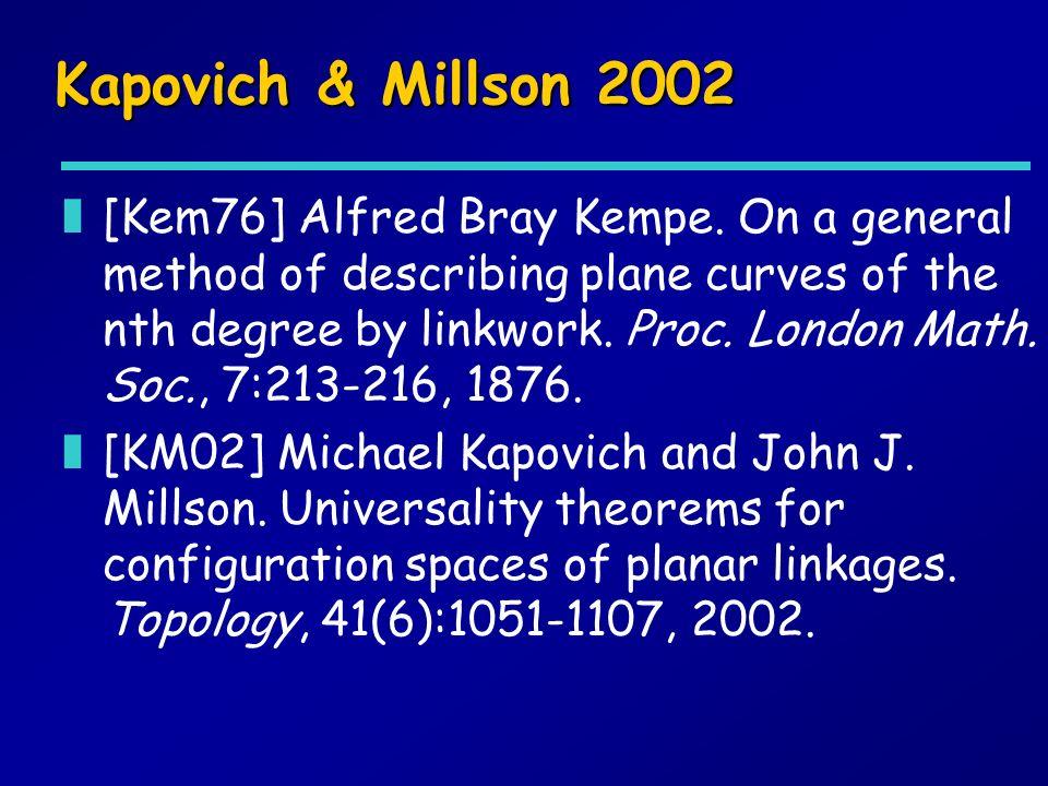 Kapovich & Millson 2002 z[Kem76] Alfred Bray Kempe. On a general method of describing plane curves of the nth degree by linkwork. Proc. London Math. S