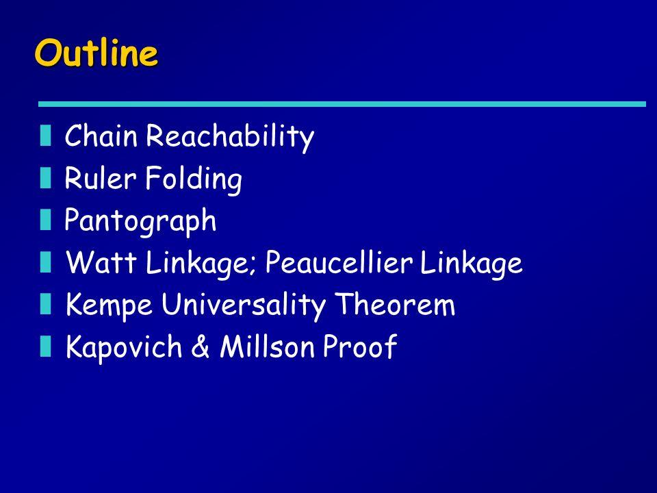Outline zChain Reachability zRuler Folding zPantograph zWatt Linkage; Peaucellier Linkage zKempe Universality Theorem zKapovich & Millson Proof