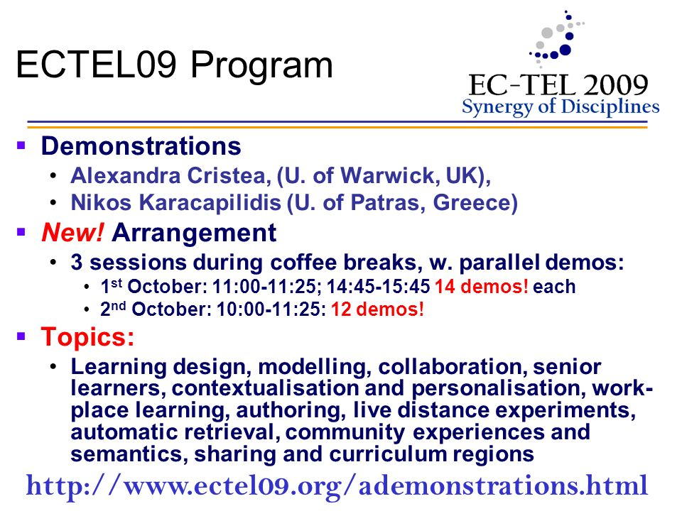 ECTEL09 Program Demonstrations Alexandra Cristea, (U.