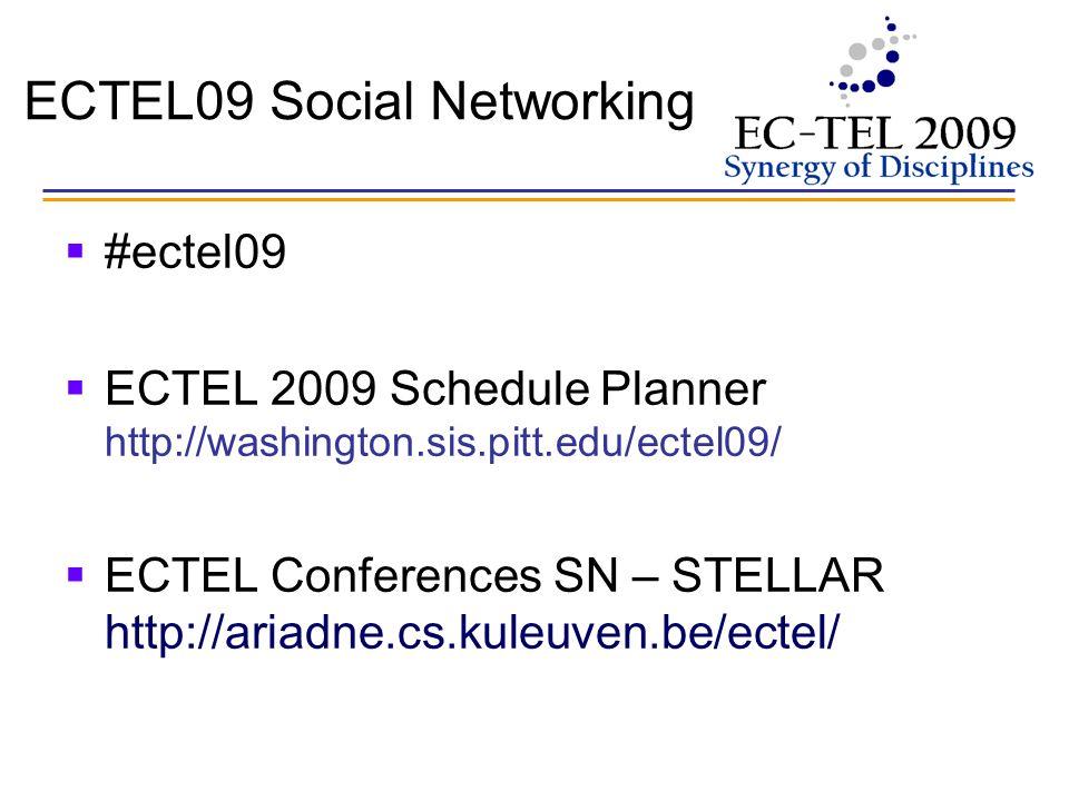 ECTEL09 Social Networking #ectel09 ECTEL 2009 Schedule Planner http://washington.sis.pitt.edu/ectel09/ ECTEL Conferences SN – STELLAR http://ariadne.cs.kuleuven.be/ectel/