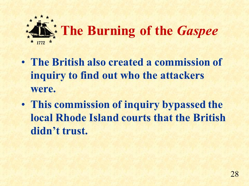 27 The Burning of the Gaspee Officials also claimed they did not know who the attackers were, even though the names were widely known. Even so, the Br