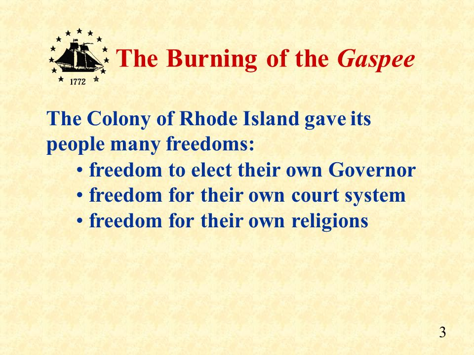 2 The Burning of the Gaspee The Colony of Rhode Island The Attack on the Gaspee And what led to…. Overview INDEPENDENCE