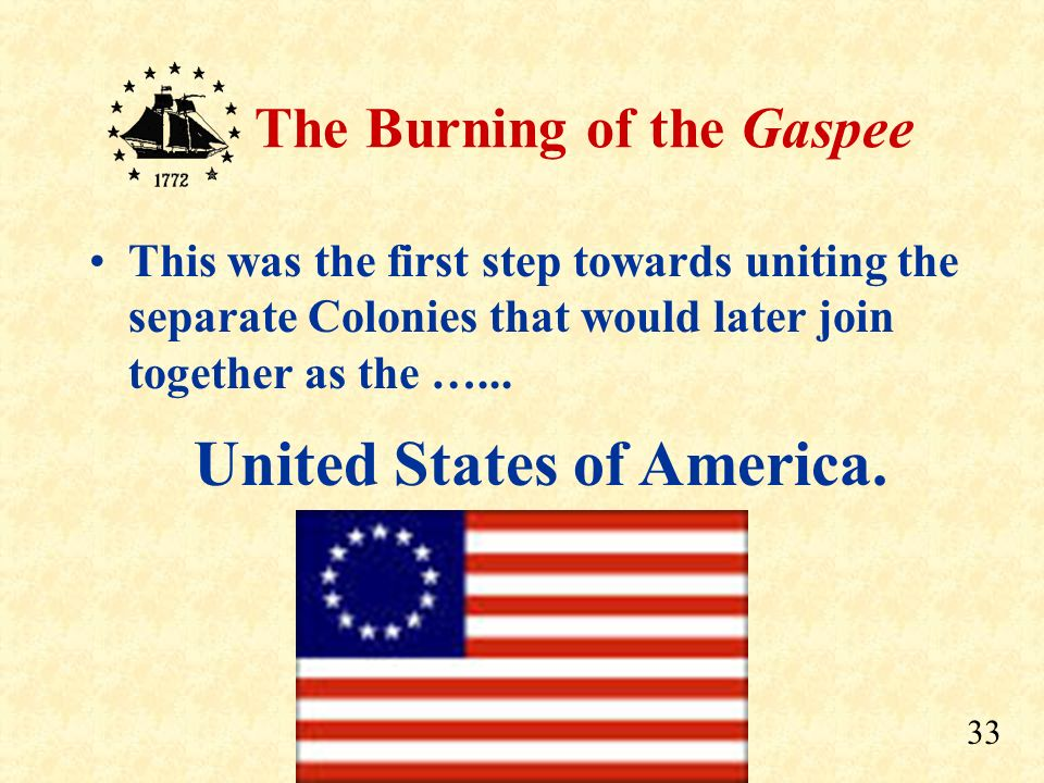 32 The Burning of the Gaspee Shortly afterwards, Virginia created the first of the permanent Committees of Correspondence to discuss such threats to t