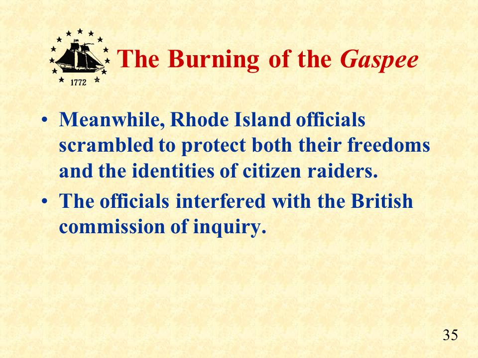 34 The Burning of the Gaspee And it was the eventual result of the actions of Rhode Island patriots…... Those That Burned the Gaspee