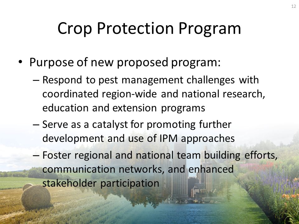 Crop Protection Program Purpose of new proposed program: – Respond to pest management challenges with coordinated region-wide and national research, education and extension programs – Serve as a catalyst for promoting further development and use of IPM approaches – Foster regional and national team building efforts, communication networks, and enhanced stakeholder participation 12