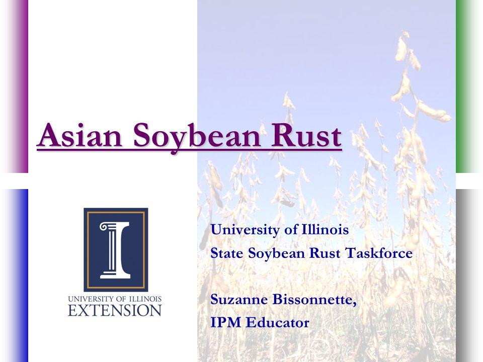 Asian Soybean Rust University of Illinois State Soybean Rust Taskforce Suzanne Bissonnette, IPM Educator