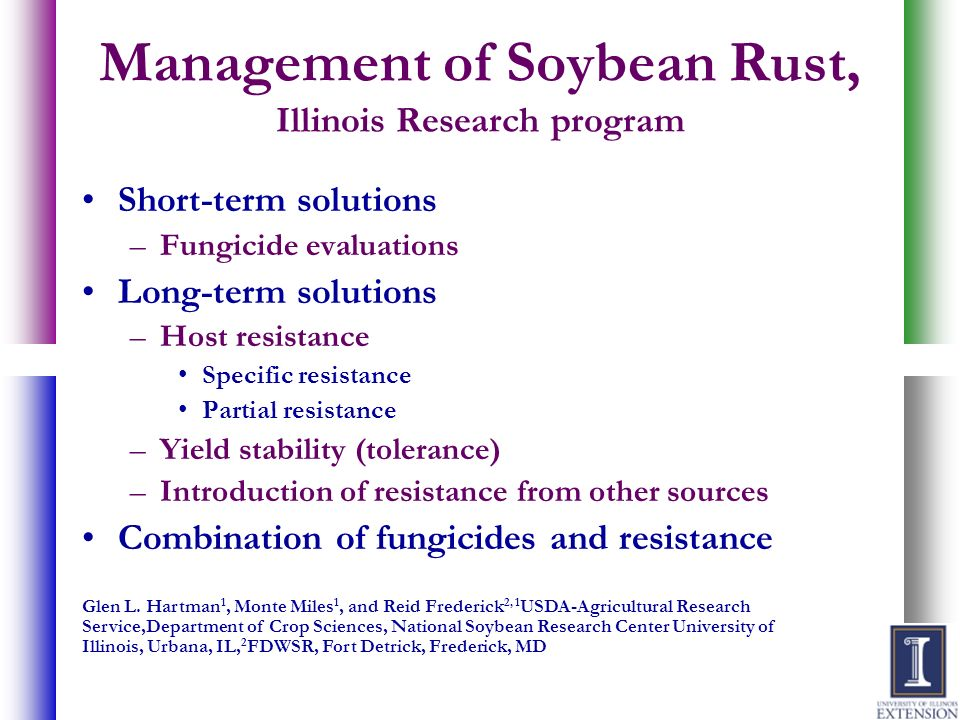 Management of Soybean Rust, Illinois Research program Short-term solutions –Fungicide evaluations Long-term solutions –Host resistance Specific resist
