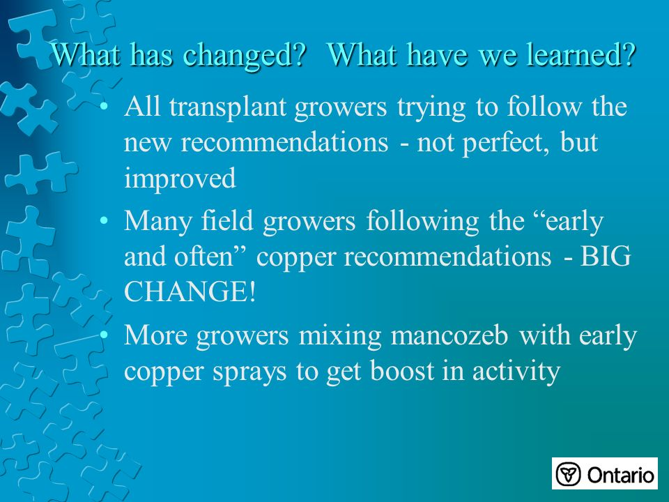 All transplant growers trying to follow the new recommendations - not perfect, but improved Many field growers following the early and often copper recommendations - BIG CHANGE.