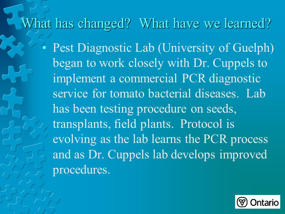 Pest Diagnostic Lab (University of Guelph) began to work closely with Dr.