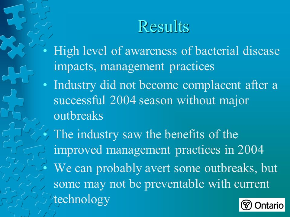 Results High level of awareness of bacterial disease impacts, management practices Industry did not become complacent after a successful 2004 season without major outbreaks The industry saw the benefits of the improved management practices in 2004 We can probably avert some outbreaks, but some may not be preventable with current technology