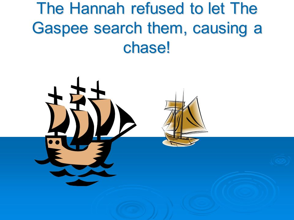 The Hannah refused to let The Gaspee search them, causing a chase!