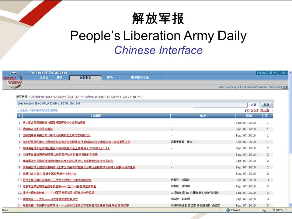 note for edits and draft. text above this line is off screen Peoples Liberation Army Daily Chinese Interface