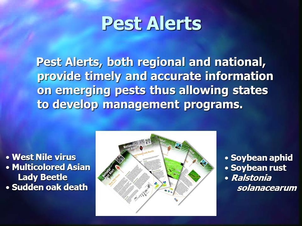 Pest Alerts Pest Alerts, both regional and national, provide timely and accurate information on emerging pests thus allowing states to develop managem