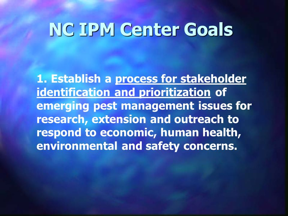 NC IPM Center Goals 1.Establish a process for stakeholder identification and prioritization of emerging pest management issues for research, extension