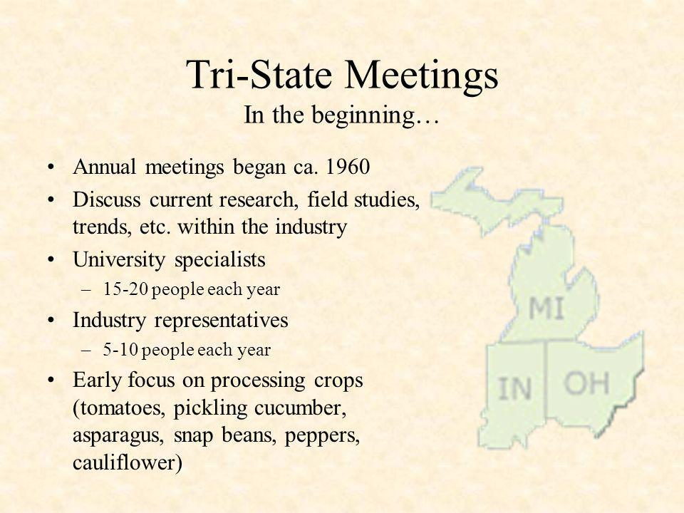 Tri-State Meetings In the beginning… Annual meetings began ca. 1960 Discuss current research, field studies, trends, etc. within the industry Universi