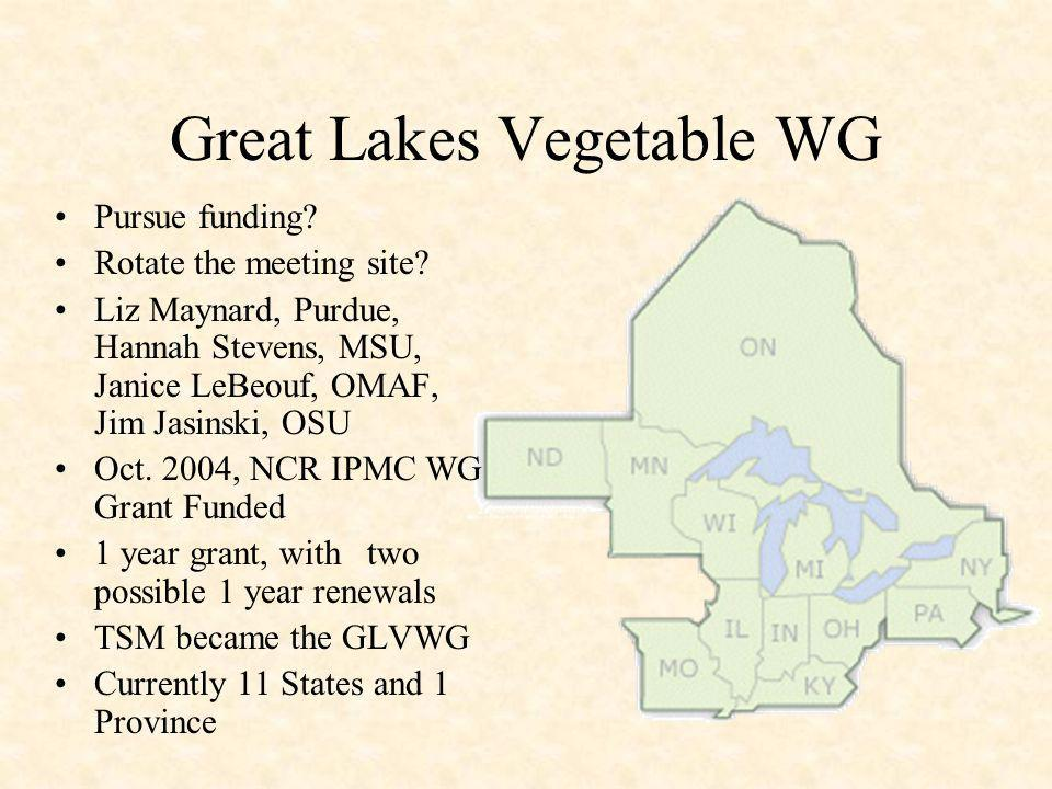 Great Lakes Vegetable WG Mission : To form a communication network for specialists with responsibilities to the vegetable industry throughout the North Central and Great Lakes region.
