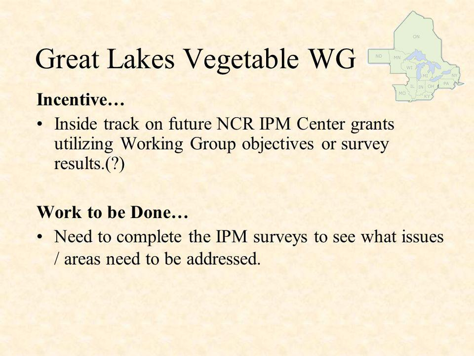 Great Lakes Vegetable WG Discussion points: Purpose or reason for GLVWG to exist Why attend this meeting.