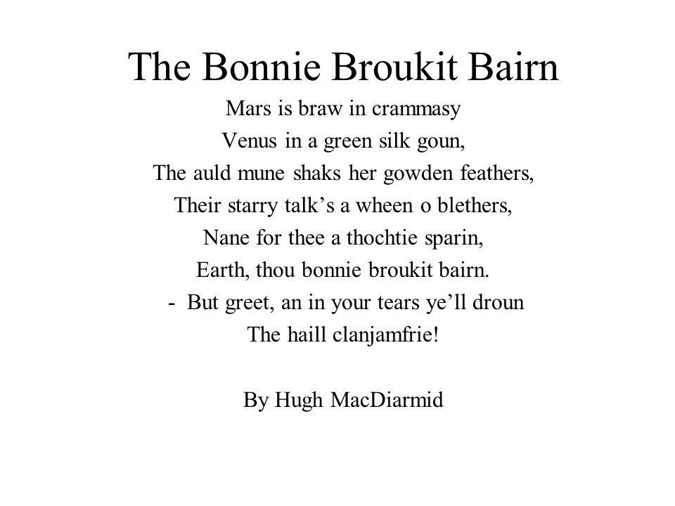 Hairst (Shetlandic) Da day is doo-grey an still; hits lik a sowl. Da bonxies class is waek as haands. Da hairst laeves faa an deepen ta mold. Makkin u