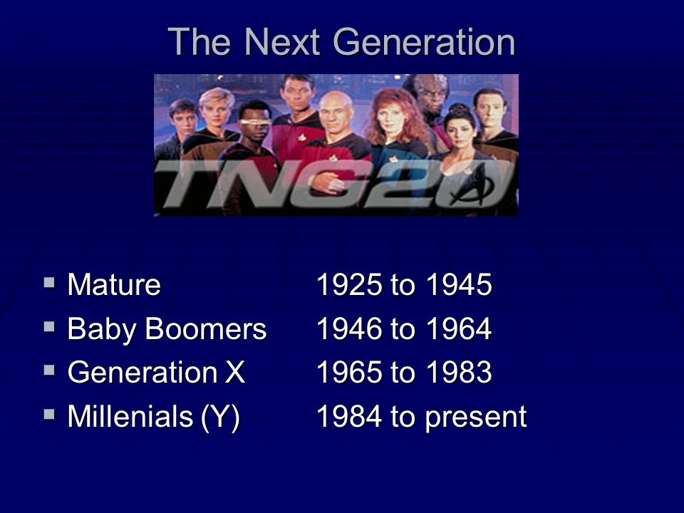 The Next Generation Mature 1925 to 1945 Mature 1925 to 1945 Baby Boomers1946 to 1964 Baby Boomers1946 to 1964 Generation X1965 to 1983 Generation X1965 to 1983 Millenials (Y)1984 to present Millenials (Y)1984 to present