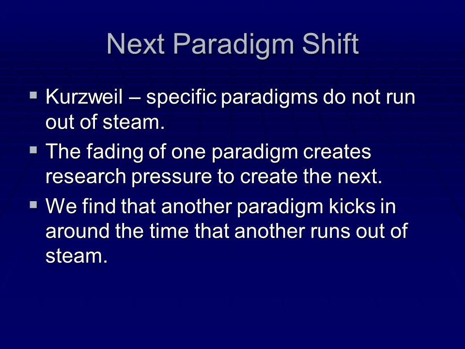 Next Paradigm Shift Kurzweil – specific paradigms do not run out of steam. Kurzweil – specific paradigms do not run out of steam. The fading of one pa