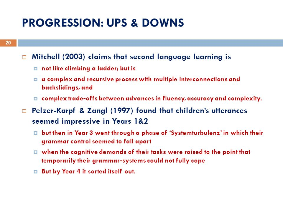 PROGRESSION: UPS & DOWNS 20 Mitchell (2003) claims that second language learning is not like climbing a ladder; but is a complex and recursive process