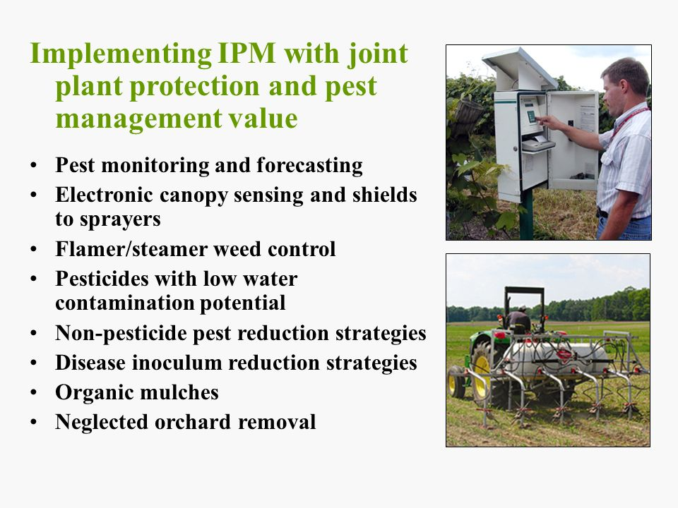 Implementing IPM with joint plant protection and pest management value Pest monitoring and forecasting Electronic canopy sensing and shields to sprayers Flamer/steamer weed control Pesticides with low water contamination potential Non-pesticide pest reduction strategies Disease inoculum reduction strategies Organic mulches Neglected orchard removal