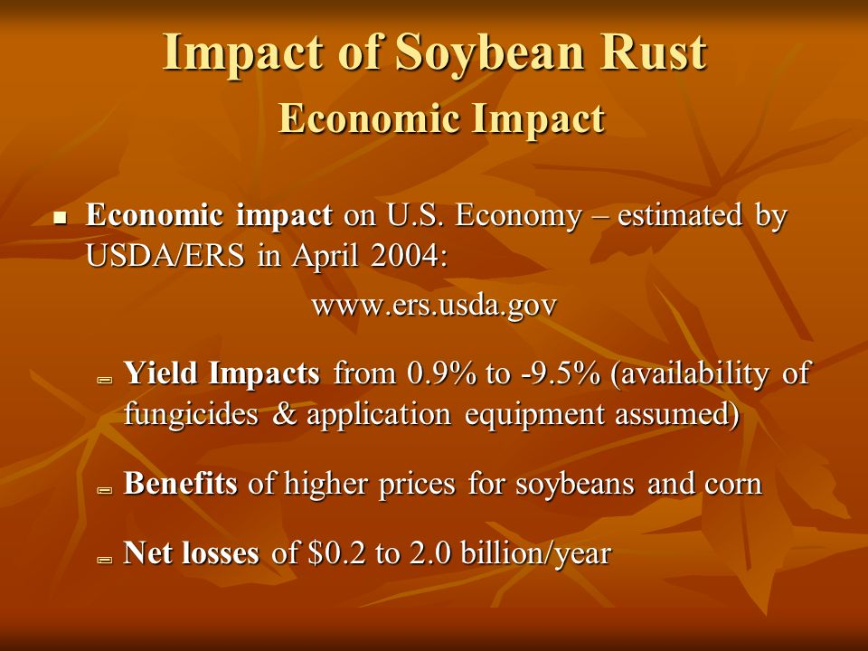 Impact of Soybean Rust Economic Impact Economic impact on U.S.