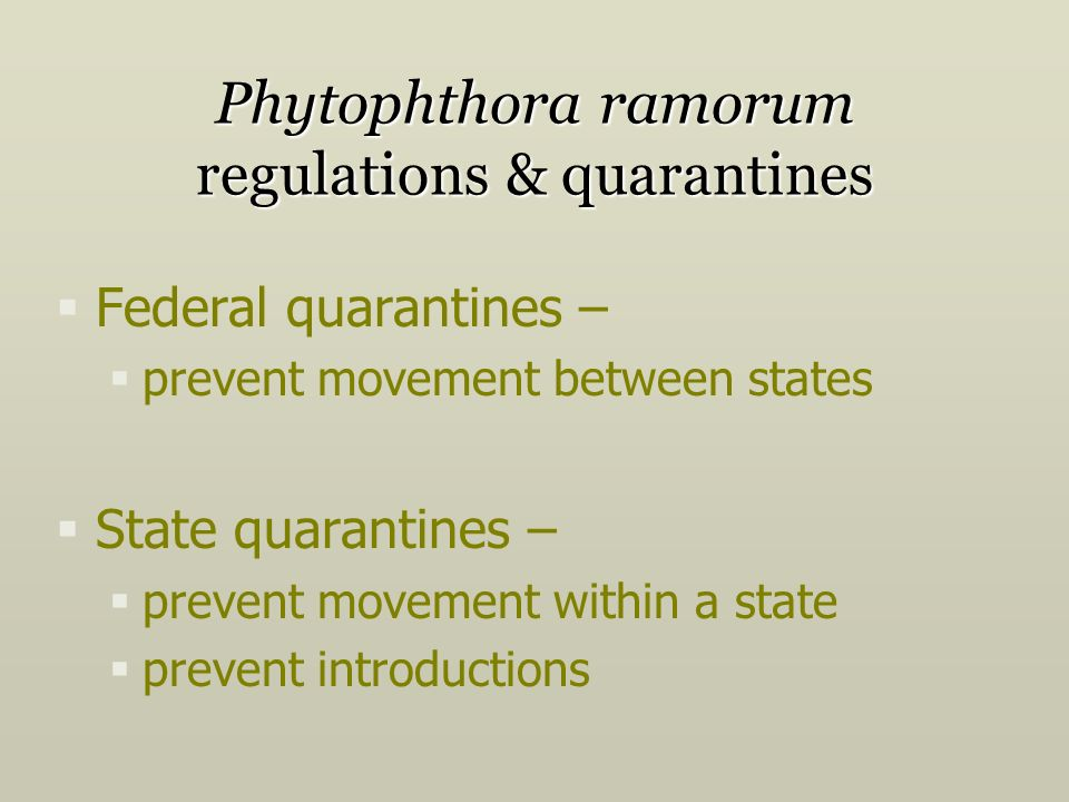 Federal quarantines – prevent movement between states State quarantines – prevent movement within a state prevent introductions Phytophthora ramorum regulations & quarantines