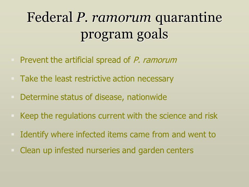Federal P. ramorum quarantine program goals Prevent the artificial spread of P. ramorum Take the least restrictive action necessary Determine status o