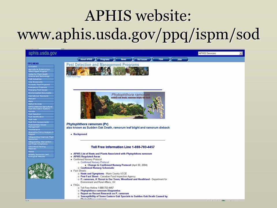 APHIS website: www.aphis.usda.gov/ppq/ispm/sod
