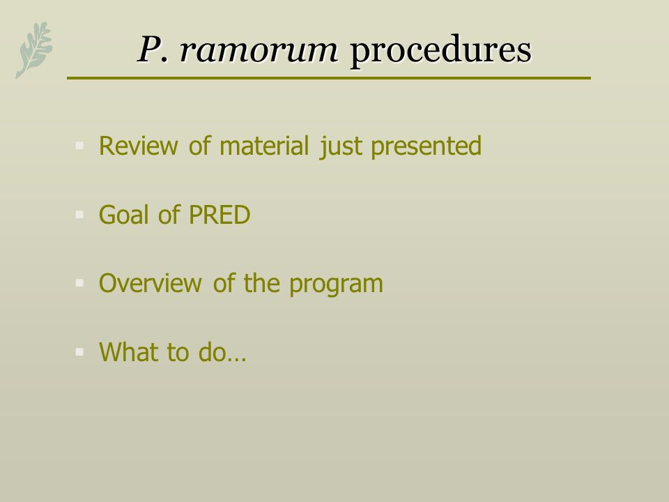 P. ramorum procedures Review of material just presented Goal of PRED Overview of the program What to do…