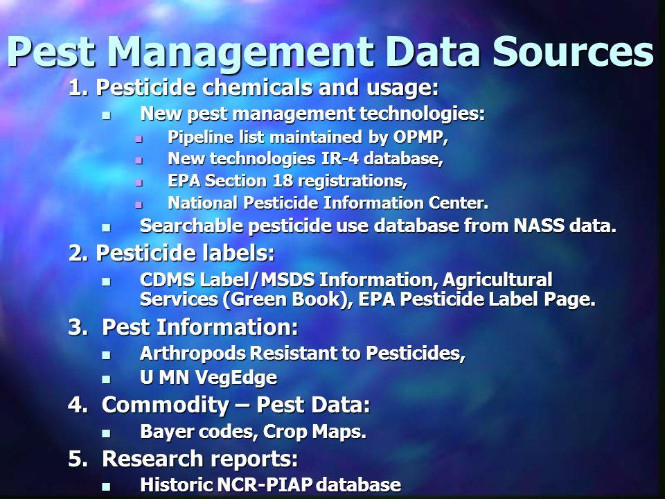 Pest Management Data Sources 1. Pesticide chemicals and usage: New pest management technologies: New pest management technologies: Pipeline list maint