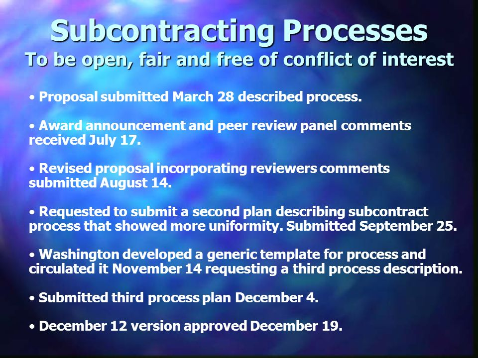 Proposal submitted March 28 described process.