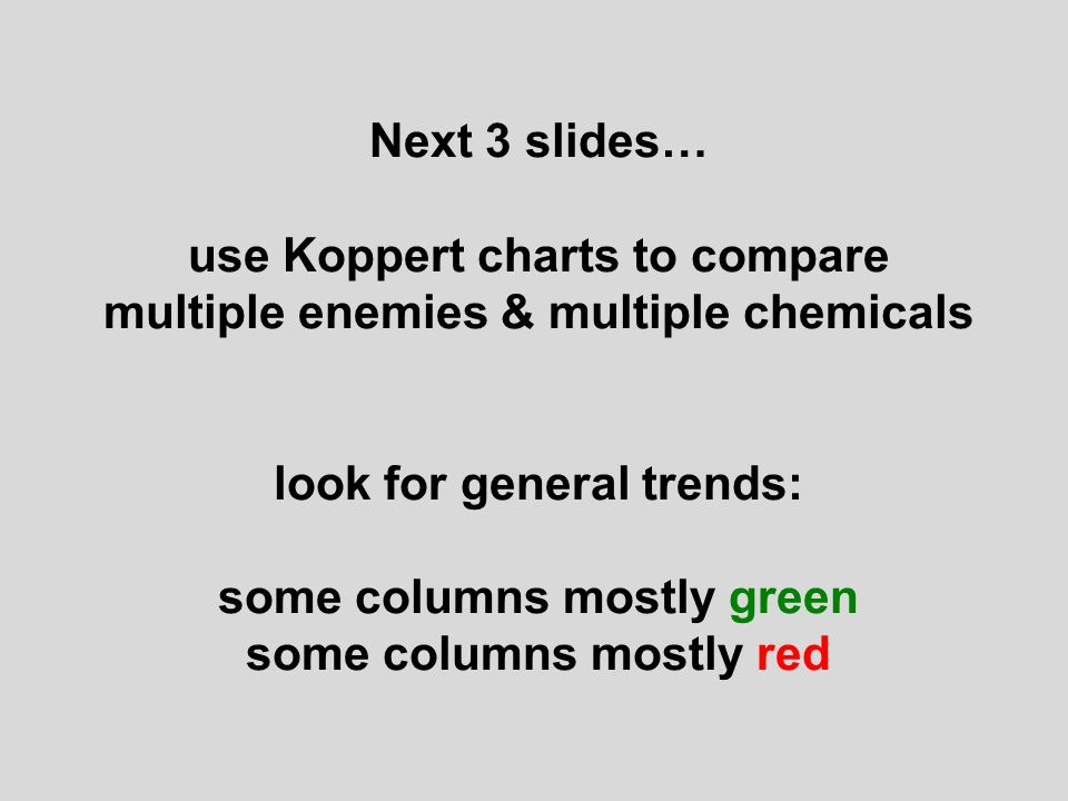 Next 3 slides… use Koppert charts to compare multiple enemies & multiple chemicals look for general trends: some columns mostly green some columns mostly red
