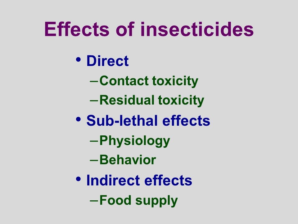 Effects of insecticides Direct – Contact toxicity – Residual toxicity Sub-lethal effects – Physiology – Behavior Indirect effects – Food supply